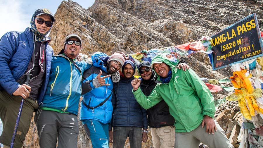 The Annapurna Seven Passes Team celebrates the crossing of the Kangla Pass. From L-R: Mingma Sherpa, Amrit Ale, Anup Vaswani, Aaloka Tumbahangphey, and Tripple Gurung.