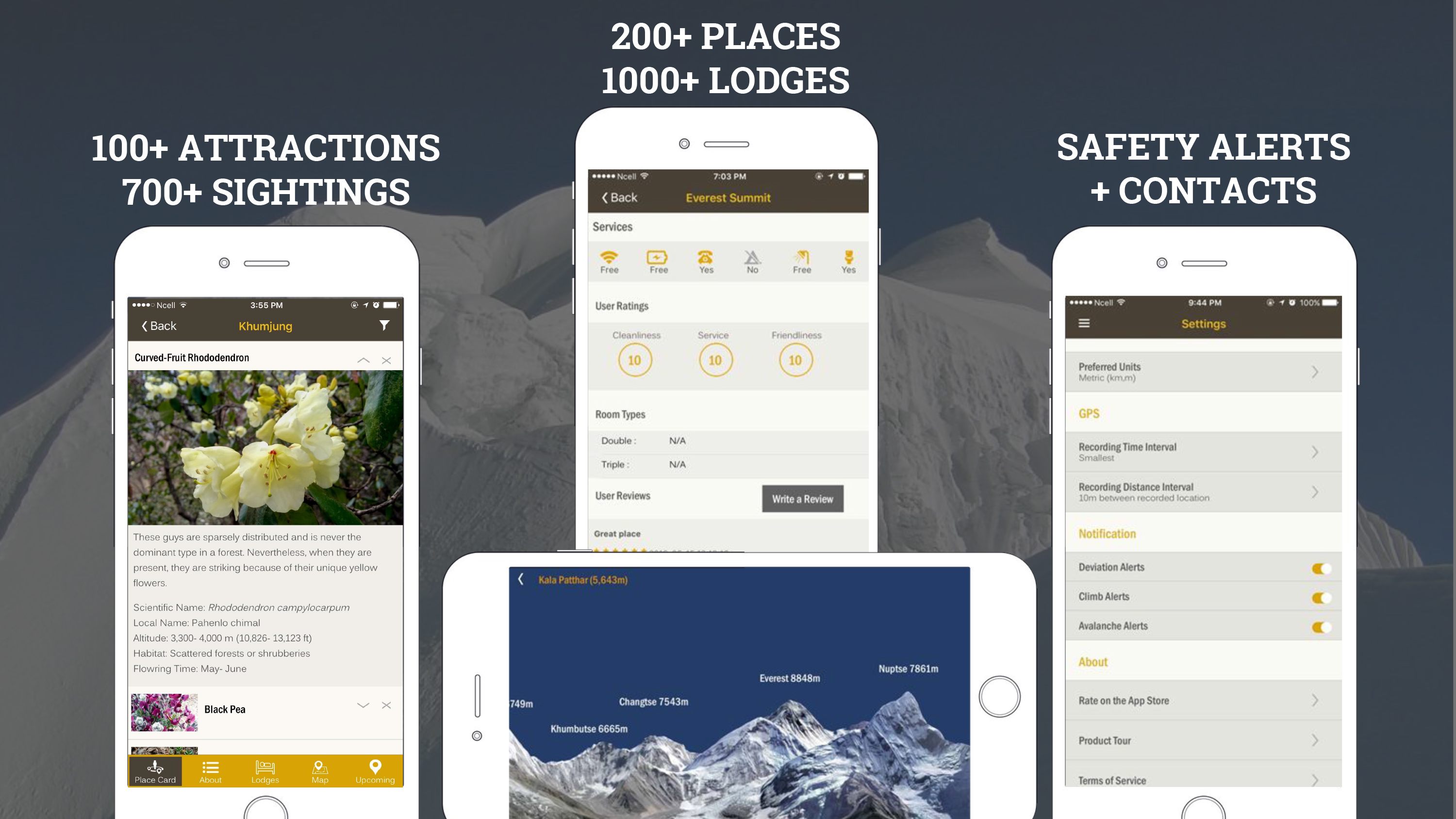 'Trekking In Nepal' App with maps, mountain finder, trail and accommodation information.
