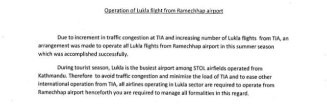 Notice on Ramechhap to Lukla Flights by CAAN