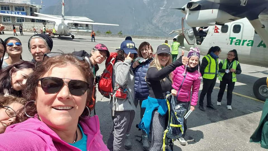 Female Group in Lukla ready to start the Everest Base Camp Trek
