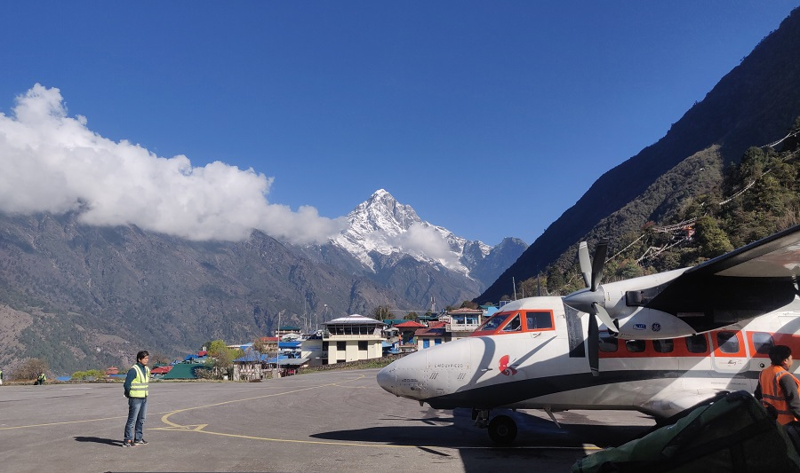 Flight waiting to board in Lukla