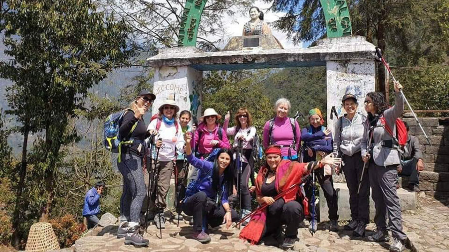 A group pose before starting the Everest Base Camp Trek