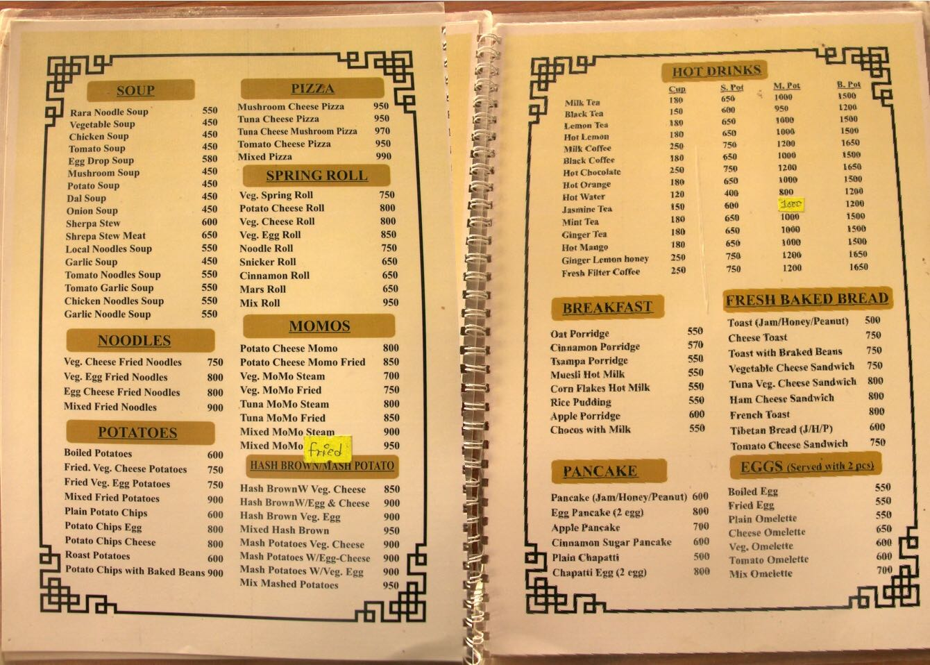 Food Menu in Lobuche