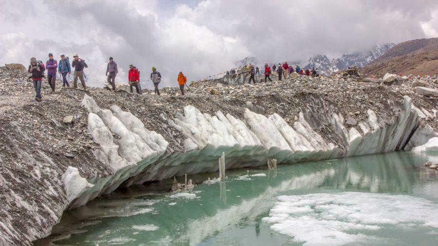 Trekkers in Khumbu Glacier, Everest Base Camp