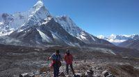 Trekkers taking acclimatization hike to Chhukung