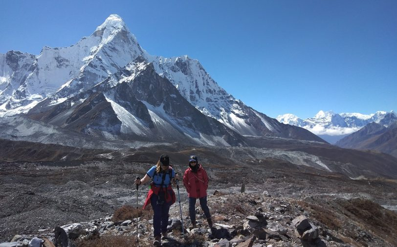 Trekkers taking acclimatization hike to Chhukung